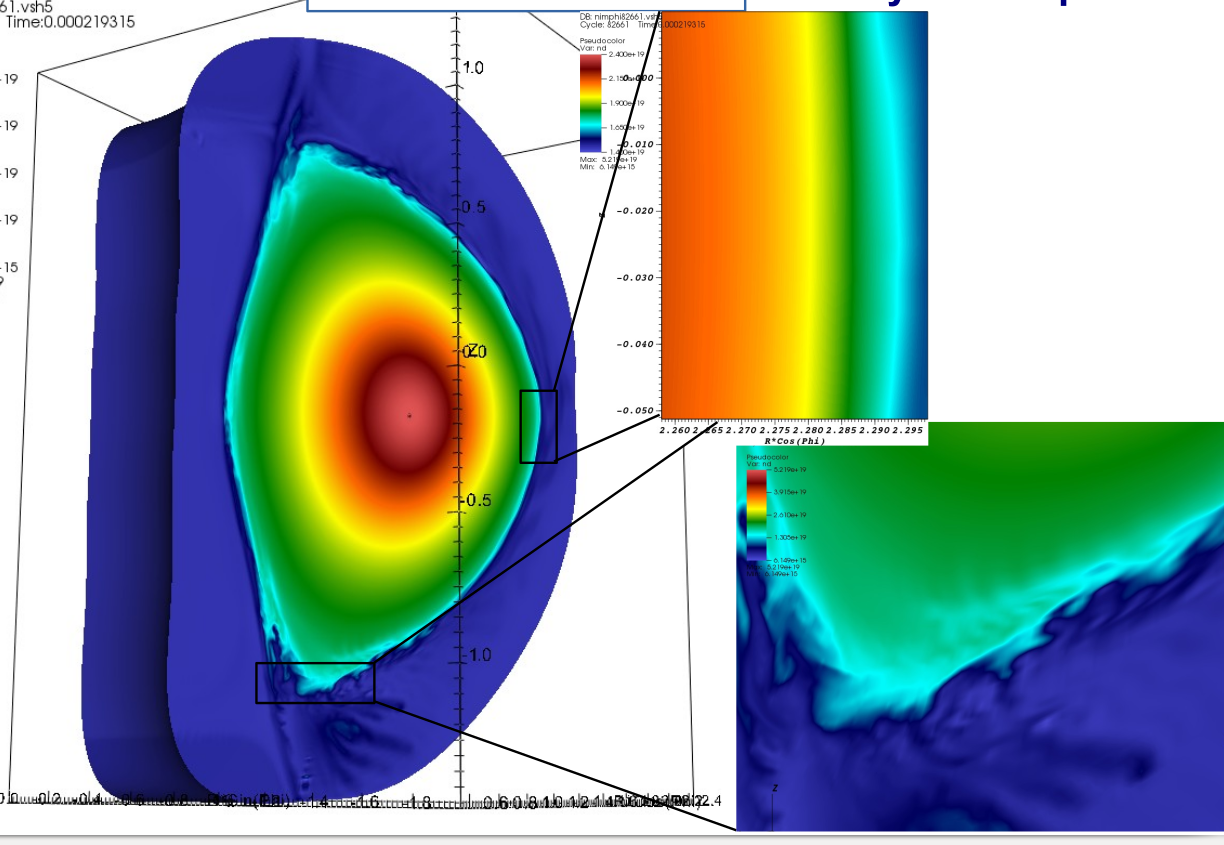 Density contours of MHD simulation of QH-mode shot 163518 after nonlinear saturation with a strong drive (initial state uses pedestal width at 50% of the measured value).