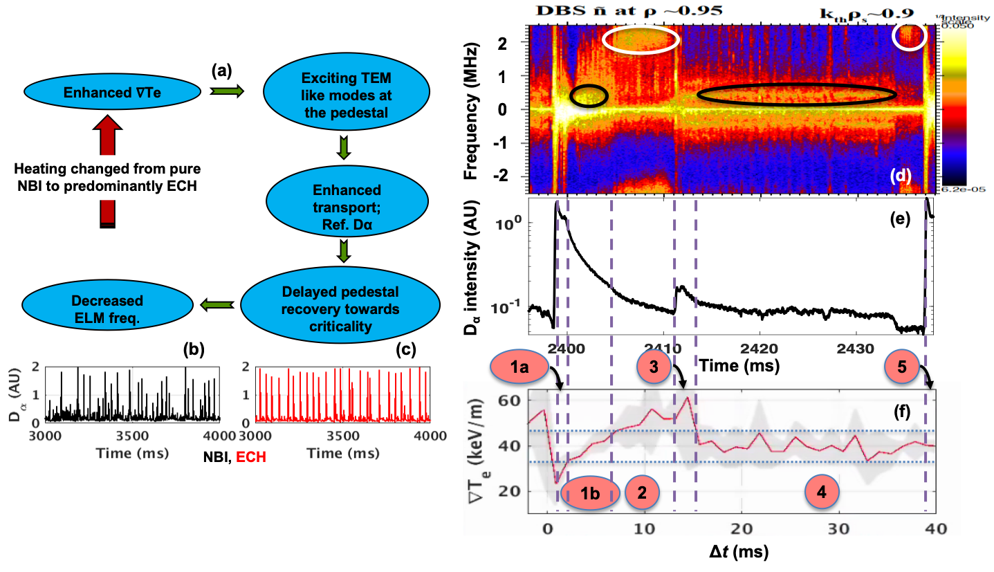 (a): Sequence of events causing reduced ELM frequency; (b)-(c): ELMs; (d)-(f): (shot #153116) Occurrence of quasi-coherent and broadband density fluctuations is correlated with the ELMs and follows $\nabla T_{e}$ evolution. Phases in $\nabla T_{e}$ are numbered and bound by purple broken vertical lines.